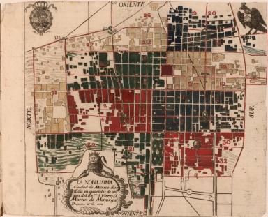 La nobilisima Ciudad de Mexico dividida en quarteles de orden del Exmo. S. VIrrey D. Martin de Mayorga.