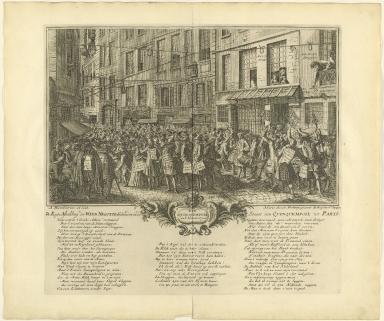 Rue Quinquempoix en l'année 1720. De regte afbeelding der wind negotie gehouden in de straat van Quinquempoix tot Parys.