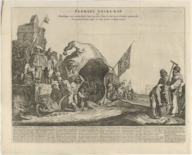 Floraes gecks-kap of afbeeldinge van 't wonderlijcke iaer van 1637 doen d' eene geck d' ander uytbroeyde, de luy rijck sonder goet, en wijs sonder verstant waeren.