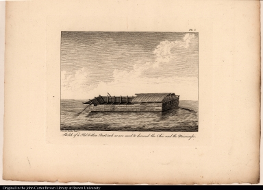 Sketch of a Flat bottom Boat; such as are used to descend the Ohio and the Mississipi.