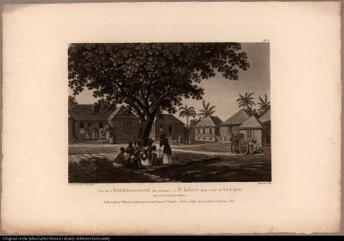 Vue de l'Etablissement des missions à St. Johns dans l'Isle d'Antigoa aux Indes occidentales.
