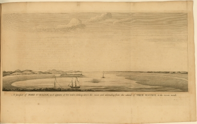 A Prospect of Port St. Julian, as it appears at low water, looking down the river, and extending from the island of True Justice to the rivers mouth.
