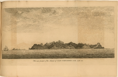 The east prospect of the Island of Juan Fernandes in the south sea.