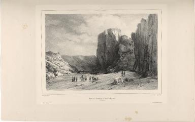 Entrée de l'Almannagja, en venant de Reykaivík à Thingvellir. (Islande.)