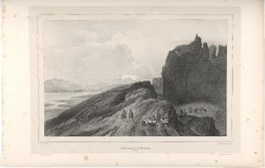L'Almannagjá et le lac de Thingvellir. (Islande.)