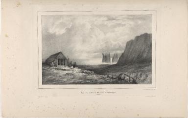 Vue prise du Baer de Vik, rhoers de Reinardrángur. (Icelande)