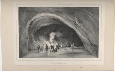 Intérieur de la grotte de glace à Surtshellir. (Islande.)