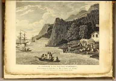 Le Vaisseau la Côte Nord-Oüest d'Amérique, Vu au moment ou il fut lancé en Mer à l'entrée de Nootka. C'etoit le premier Vassieau qui eut été construit dans celle partie du Globe.