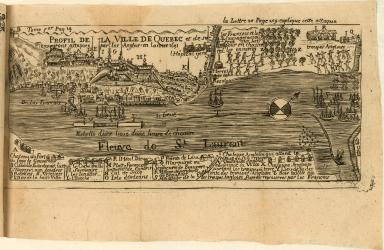 Profil de la Ville de Quebec et de ses environs attaquee par les Anglois en lannee 1691