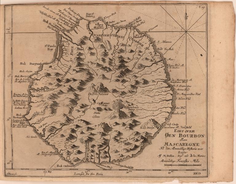 Kort over Egnene Øen Bourbon ellers Mascaregne Til den Almindelige Historie over Reiser Af M. Bellin Ingr. ord. de la Marine