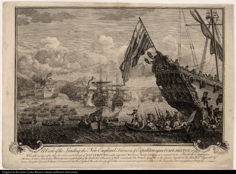 A View of the Landing the New England Forces in ye Expedition against Cape Breton, 1745 ...