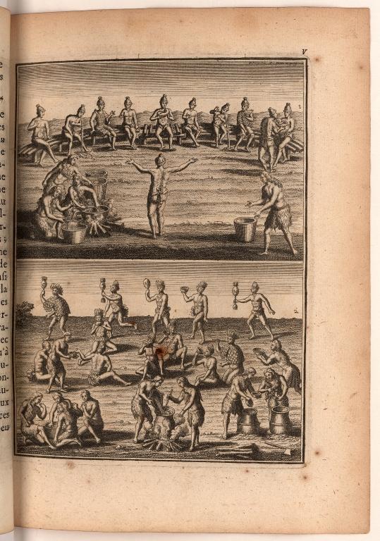 [Planche IV. pag. 80. [sic] On a gravé dans cette Planche deux ménages des Sauvages de l'Amerique Meridional & Septentrionale. ...]