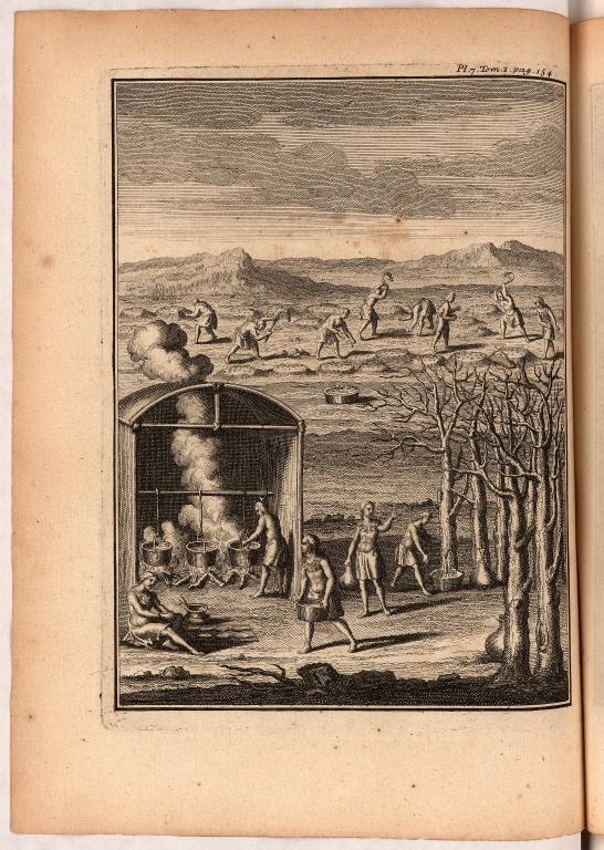 [Planche VI. pag. 136. Cette Planche est aussi distribuée en deux sujets. Le premier est une danse de Religion des Peuples de la Virginie ... Le second est une représentation d'une partie de la danse des Bresiliens décrite par le Sieur de Lery ...]