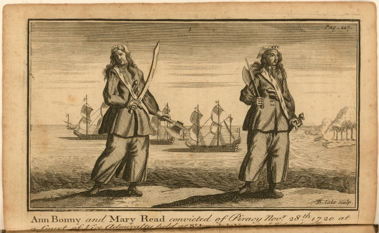 Ann Bonny and Mary Read convicted of Piracy Novr. 28th. 1720 at a Court of Vice Admiralty held at St. Jago de la Vega in ye Island of Jamaica.