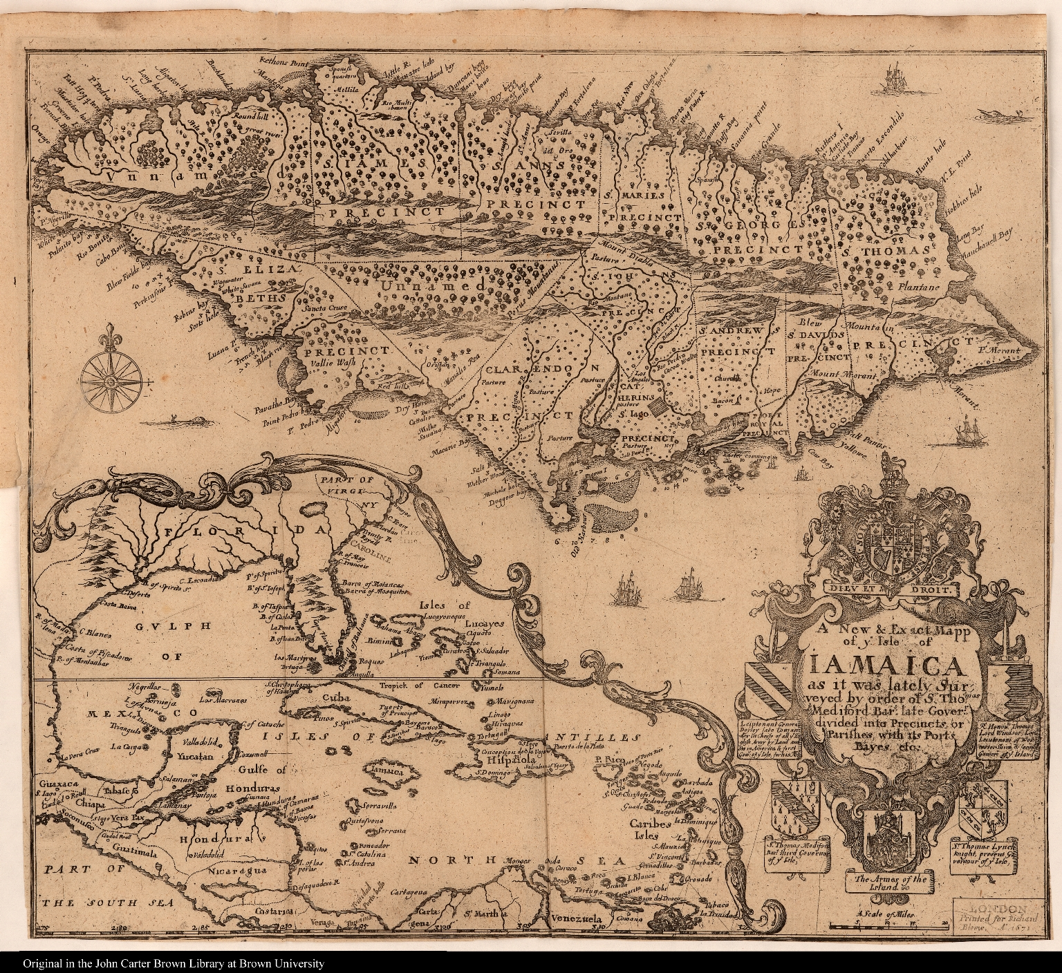 A New & Exact Mapp of ye Isle of Iamaica