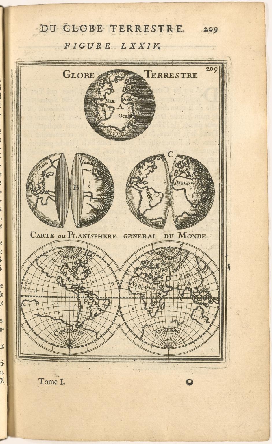 [top] Globe Terrestre [bottom] Carte ou Planisphere general du Monde.