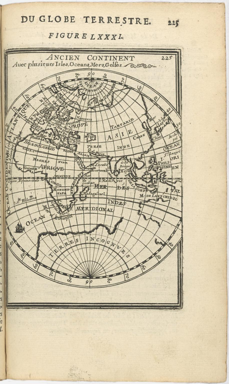 Ancien Continent Avec plusieurs Isles, Oceans, Mers, Golfes