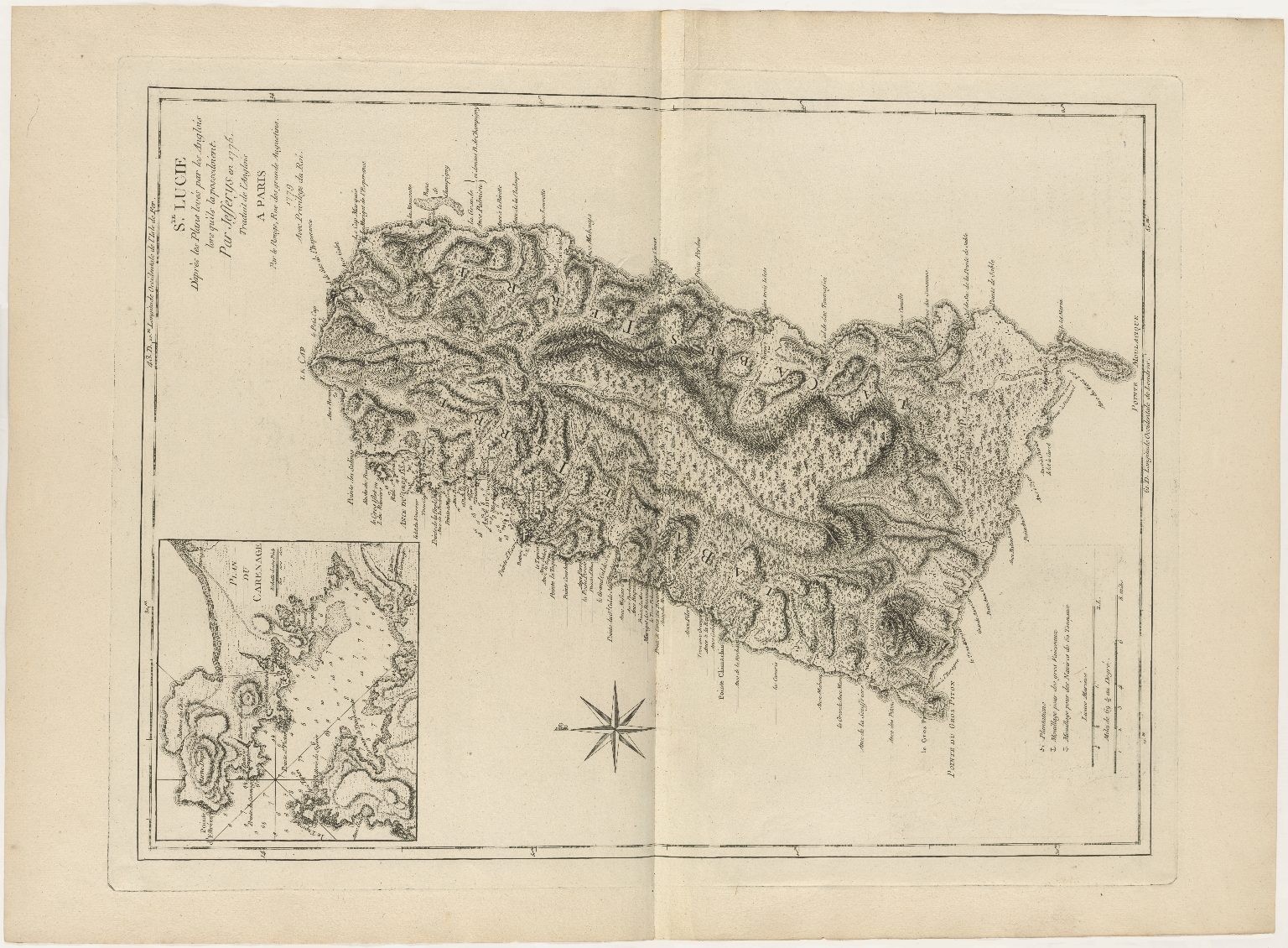 Ste. Lucie D'après les Plans levé par les Anglois lors qu'ils la possedoient, Par Jefferys en 1775 Traduit de l'Anglois