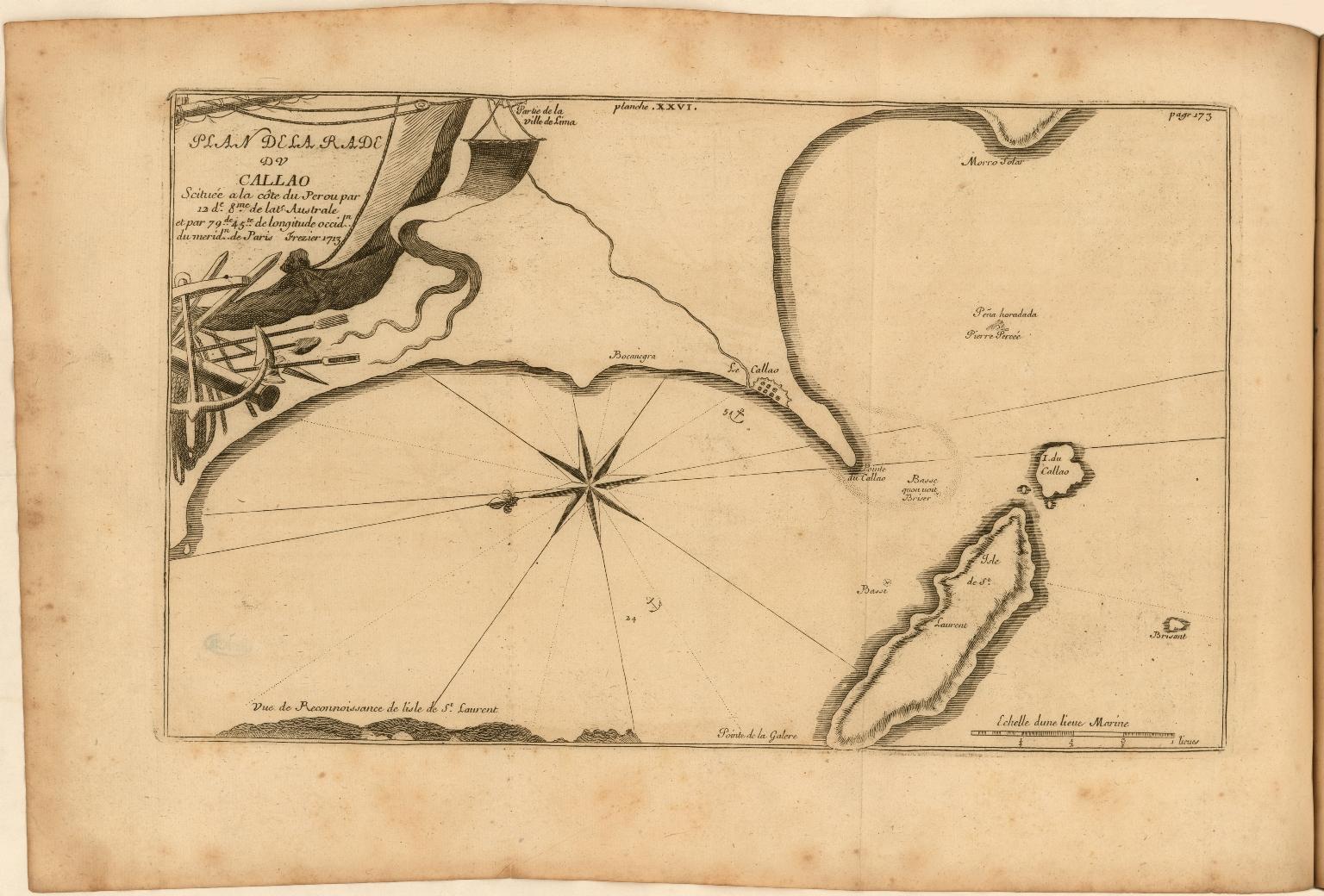 Plan de la Rade de Callao Scituée a la côte du Perou par 12de 8me. de late. Australe et par 79 de. 45te. de longitude occidn. de meridn. de Paris