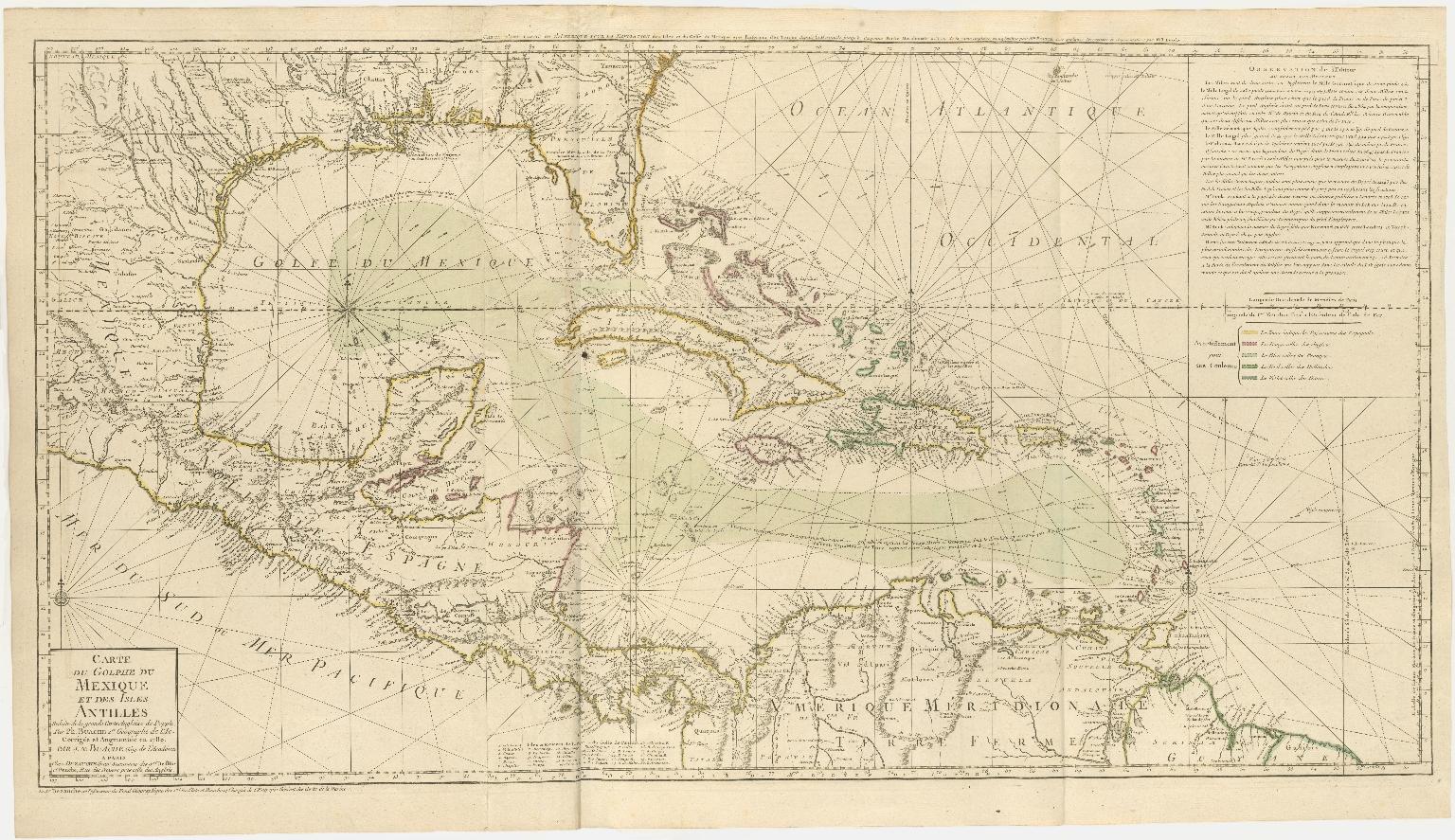 Carte du Golphe du Mexique et des Isles Antilles Reduite de la grand Carte Angloise de Popple, Par Ph. Buache 1er. Géographe de l'Ac. Corrigée et Augmentée en 1780. Par J. N. Buache Géog. de l'Académie