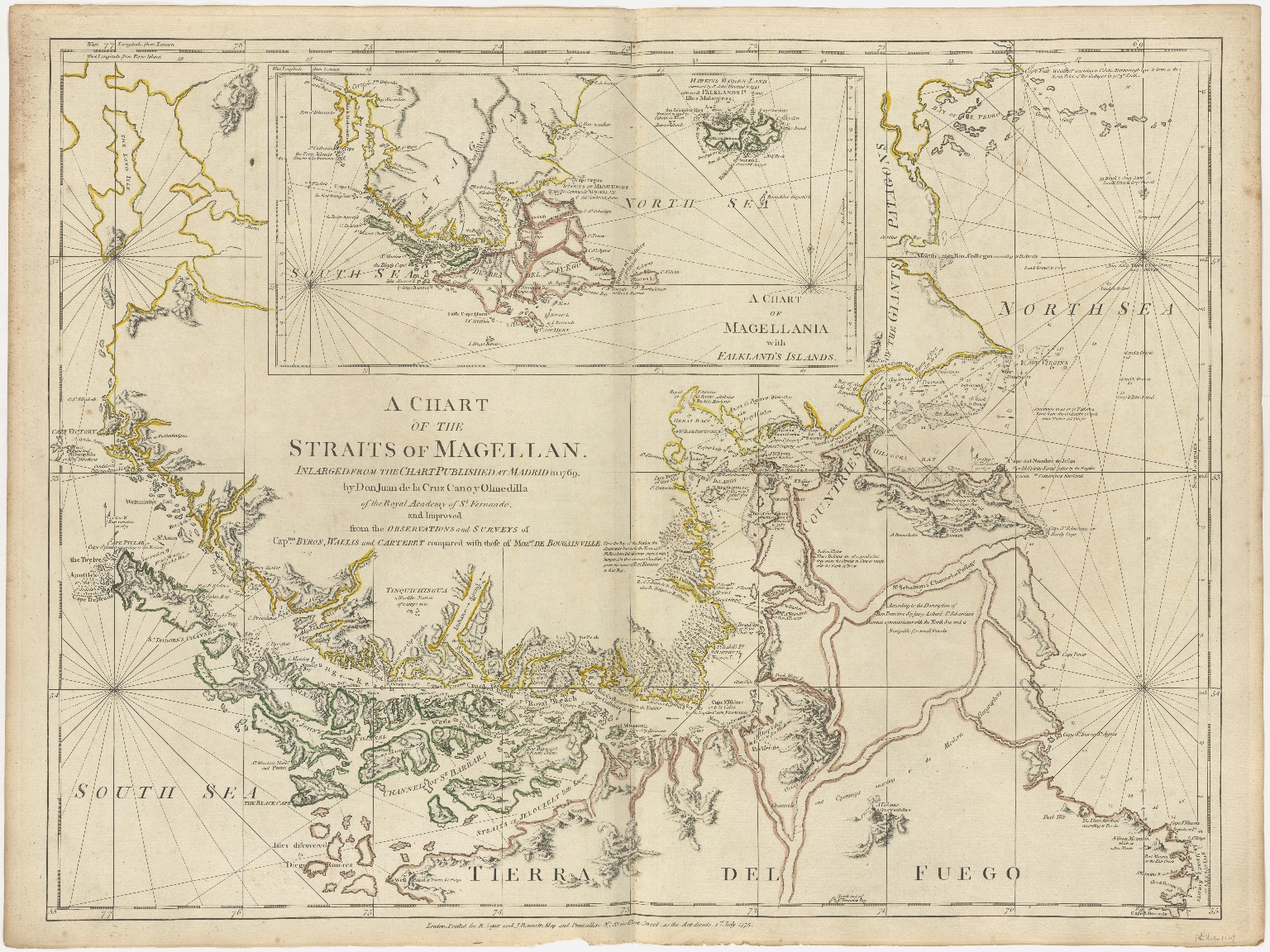 A Chart of the Straits of Magellan. Inlarged from the Chart Published at Madrid in 1769, by Don Juan de la Cruz Cano y Olmedillia of the Royal Academy of St. Fernando. and Improved from the Observations and Surveys of Captns. Byron, Wallis and Carteret compared with those of Monsr. de Bougainville