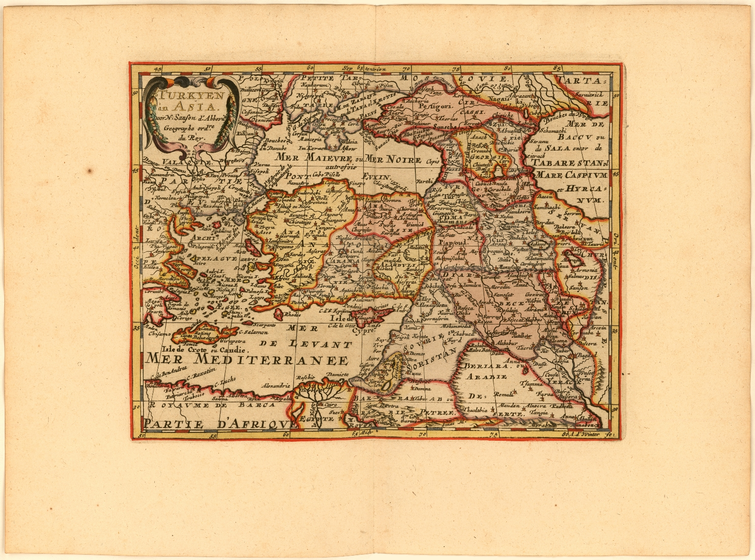 Turkyen in Asia Door N. Sanson d'Abbevil. Geographe ordre. du Roy.