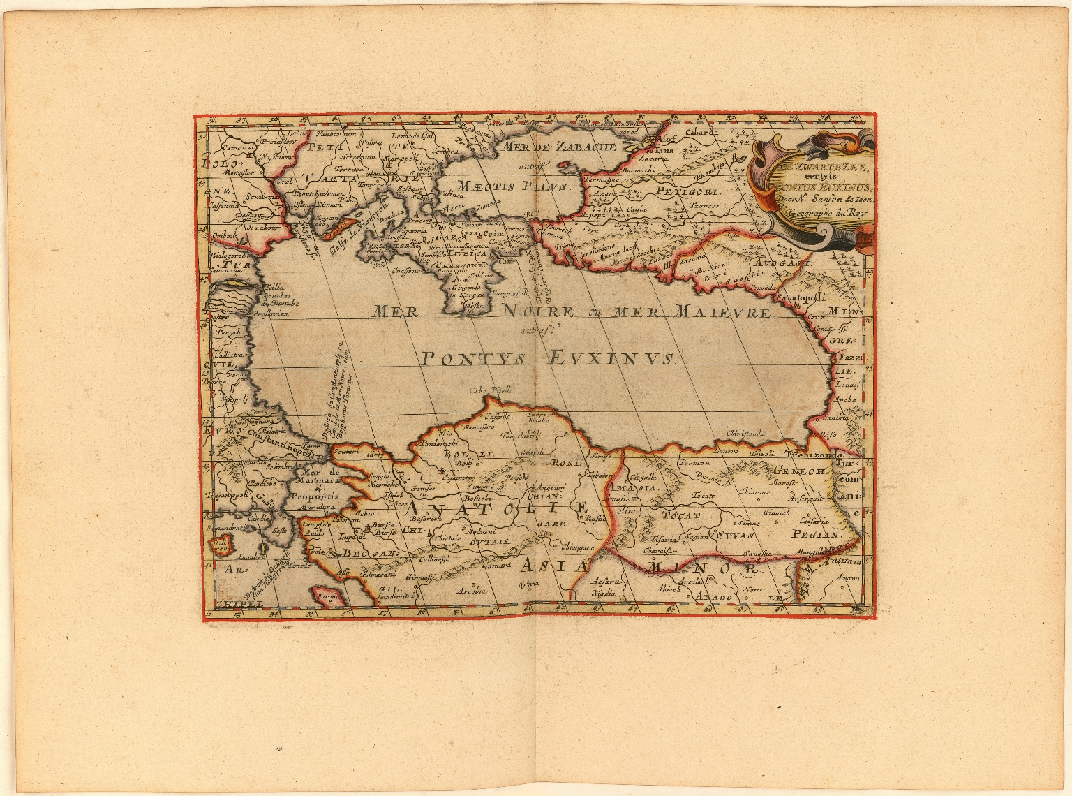 De Zwartezee eertyts Pontus Euxinus Door N. Sanson de Zoon Geographe du Roy.