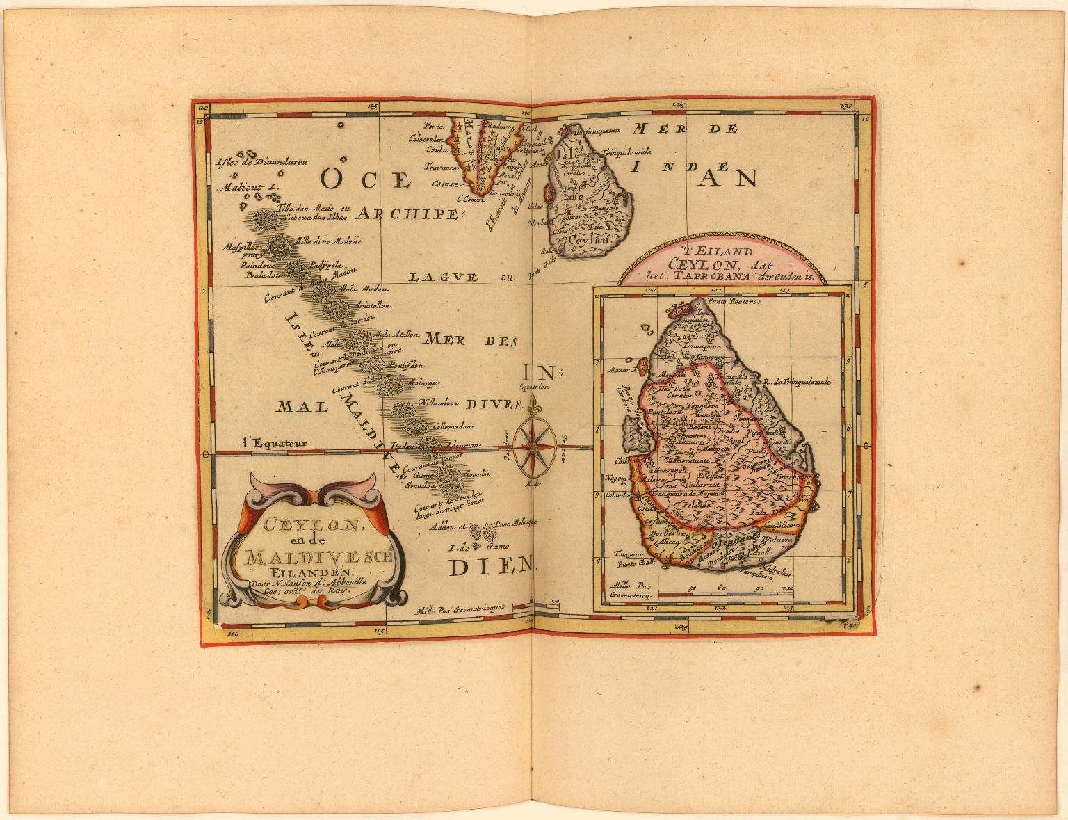 Ceylon en de Madivesche Eilanden. Door N. Sanson d'Abbeville, Geo: ordr. du Roy.