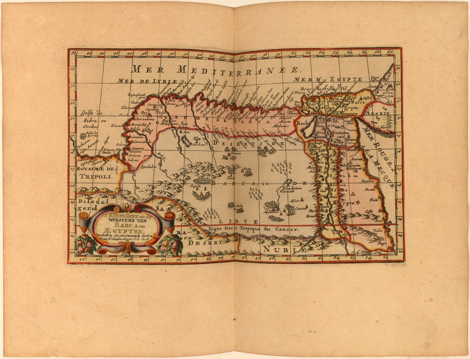 Egypten, verdeelt in zyne twaalf Cassilieen, of Landvoogdyen getrokken mit sanutus enz. Door N. Sanson d'Abbeville, Geographe du Roy.