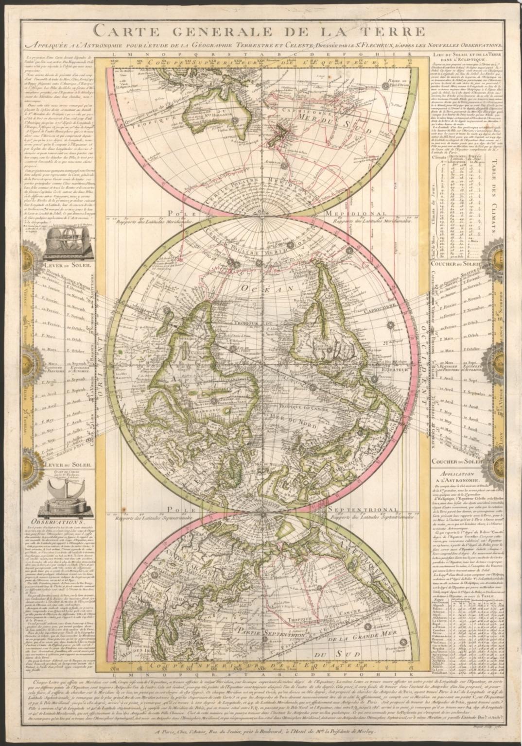 Carte générale de la terre : appliquée a l'astronomie pour l'etude de la géographie terrestre et celeste, / dressée par le s[ieu]r Flecheux, d'apres les nouvelles observations