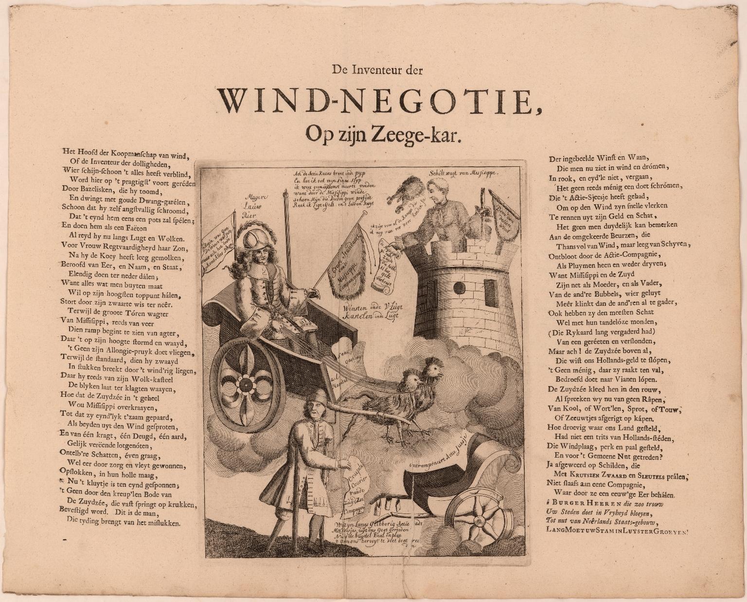 De inventeur der windnegotie, op zyn zegekar.