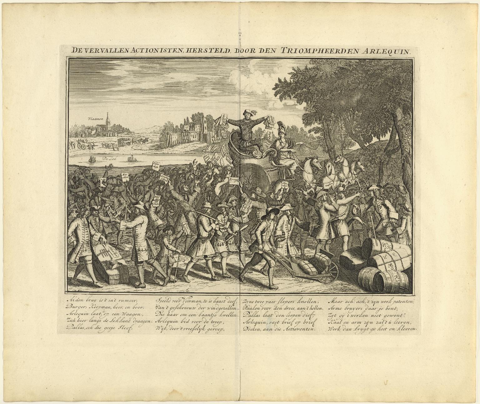 De vervallen actionisten, hersteld, door den triompheerden Arlequin.