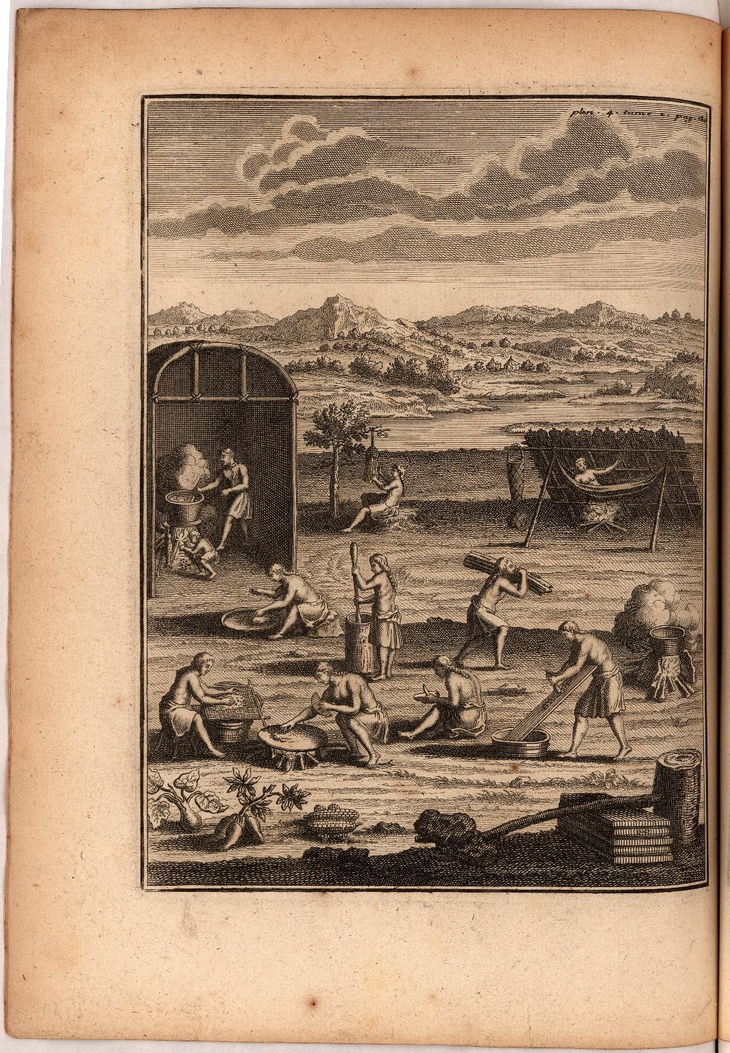 [Planche VII. pag. 154. Maniere de faire le sucre d'Etable. Les femmes occupées à aller chercher les vaisseaux , qui sont déja pleins de l'eau qui coule des arbres. ...]