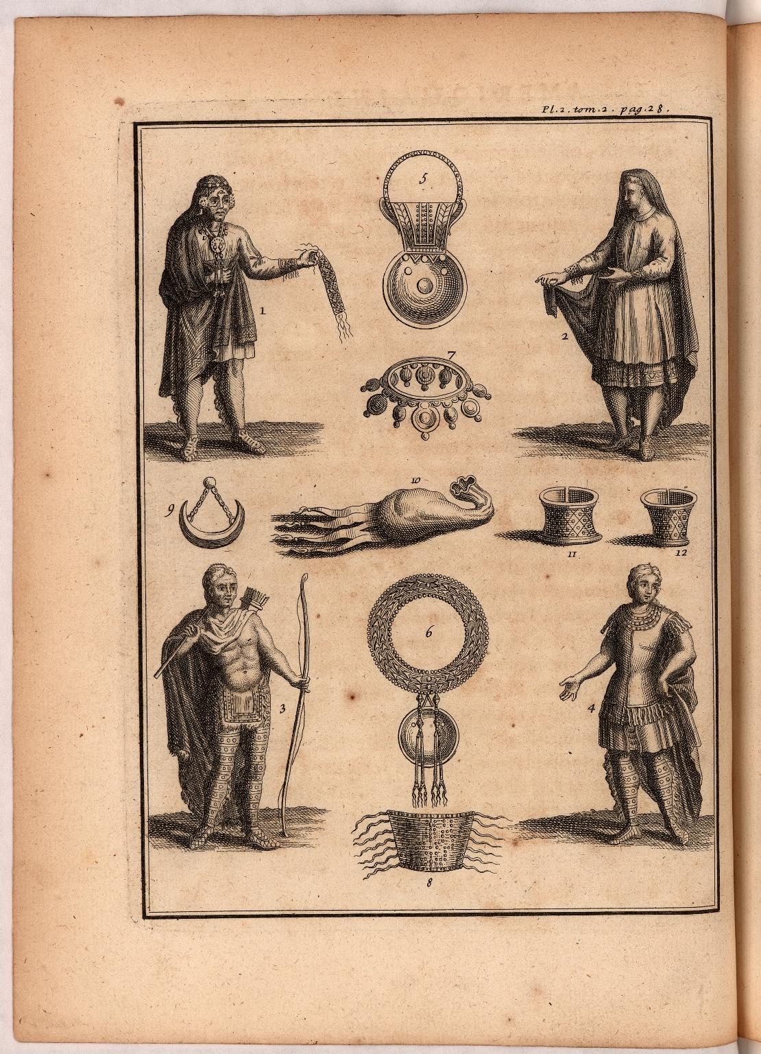 [Planche II pag. 28. On voit ici un détail des habillemens & des ornemens des Sauvages. 1. 2. Figures de Sauvages des Nations iroquoises & Huronnes vêtu à la moderne, homme & femme...]