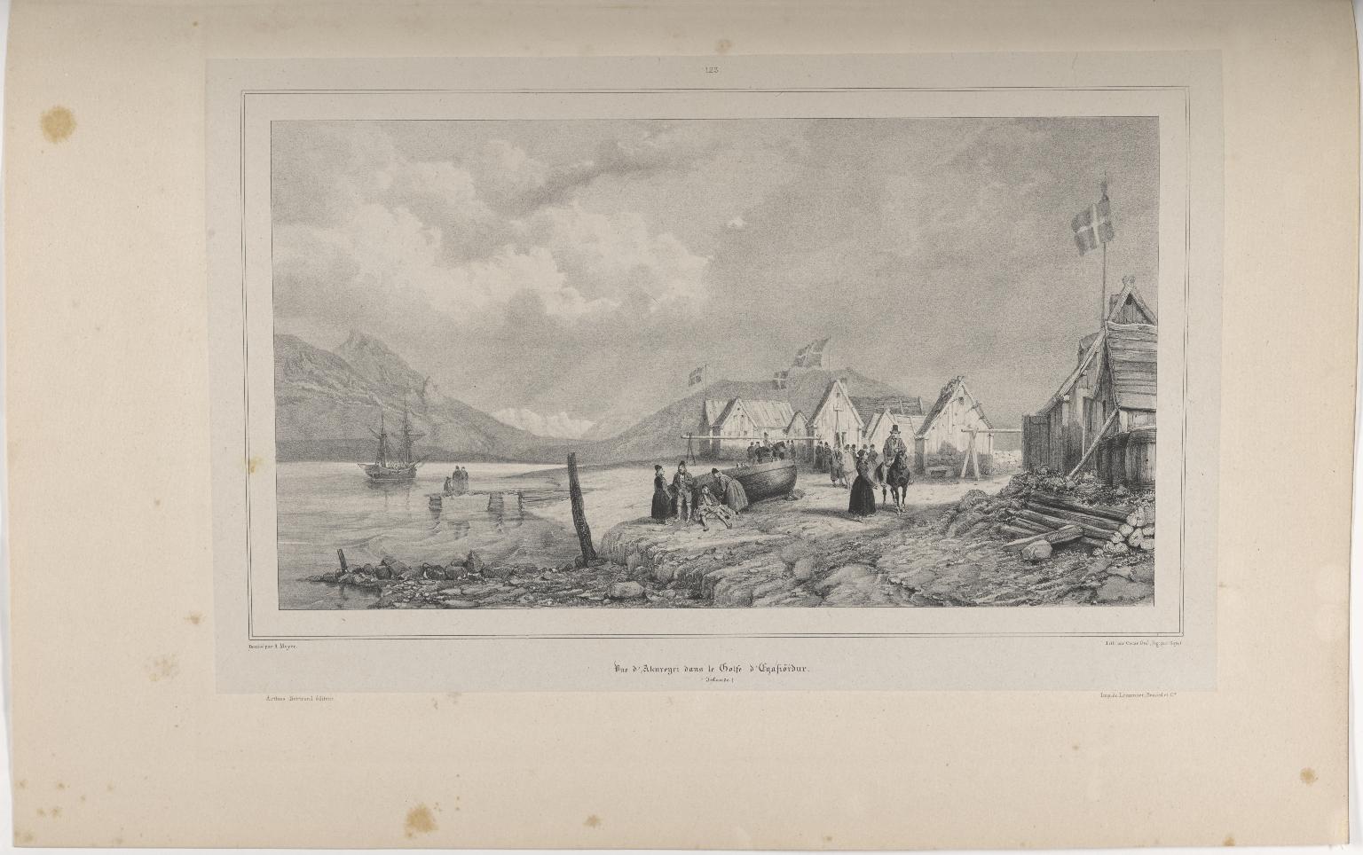 Vue d'Akureyri dans le Golfe d'Eyafiörður. (Islande.)