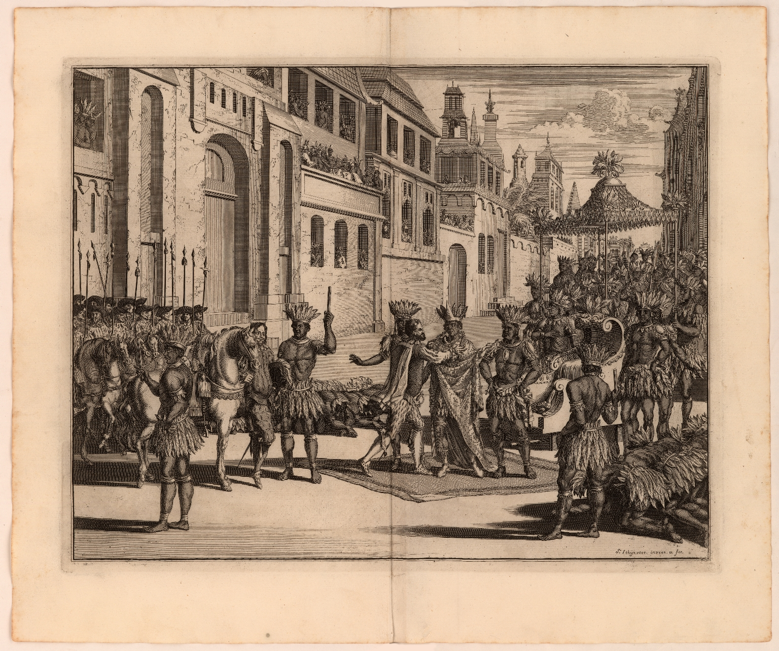 [Cortés greets native American noble in Mexico]