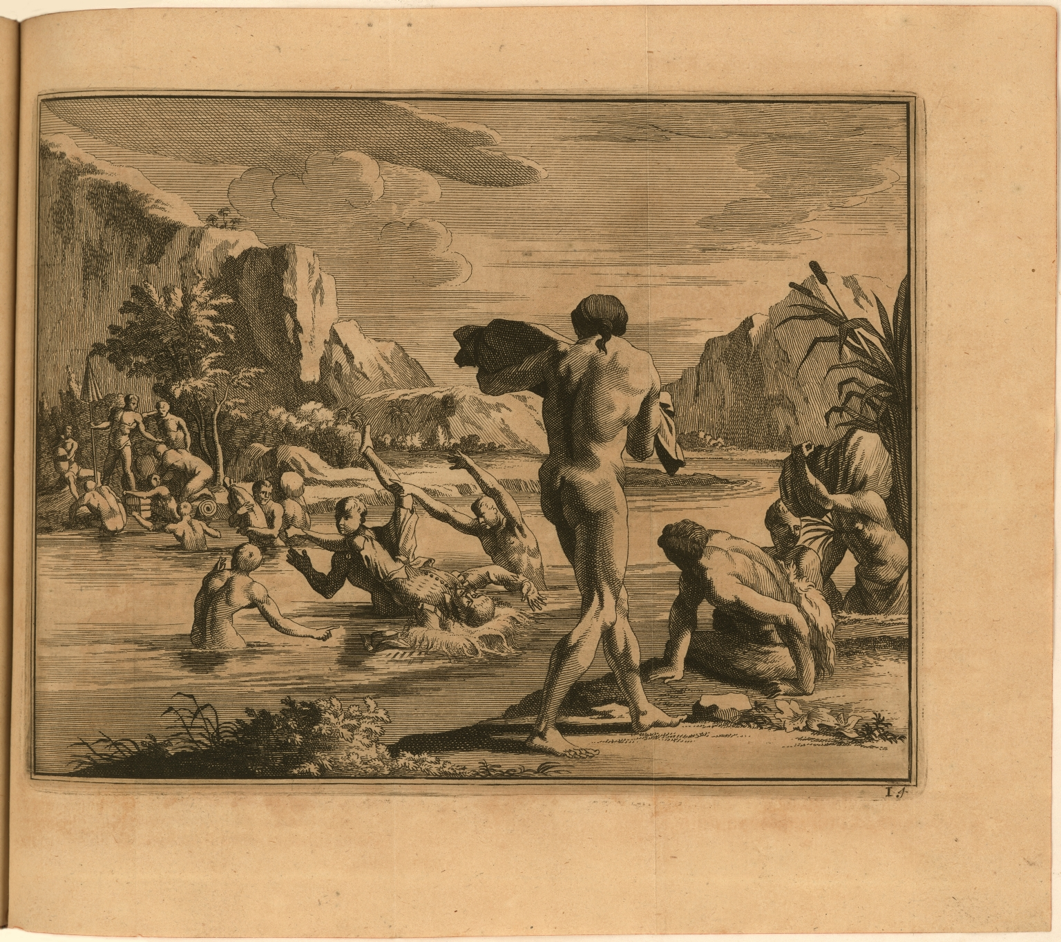 [Spanish soldier falls into a river while native Americans watch]
