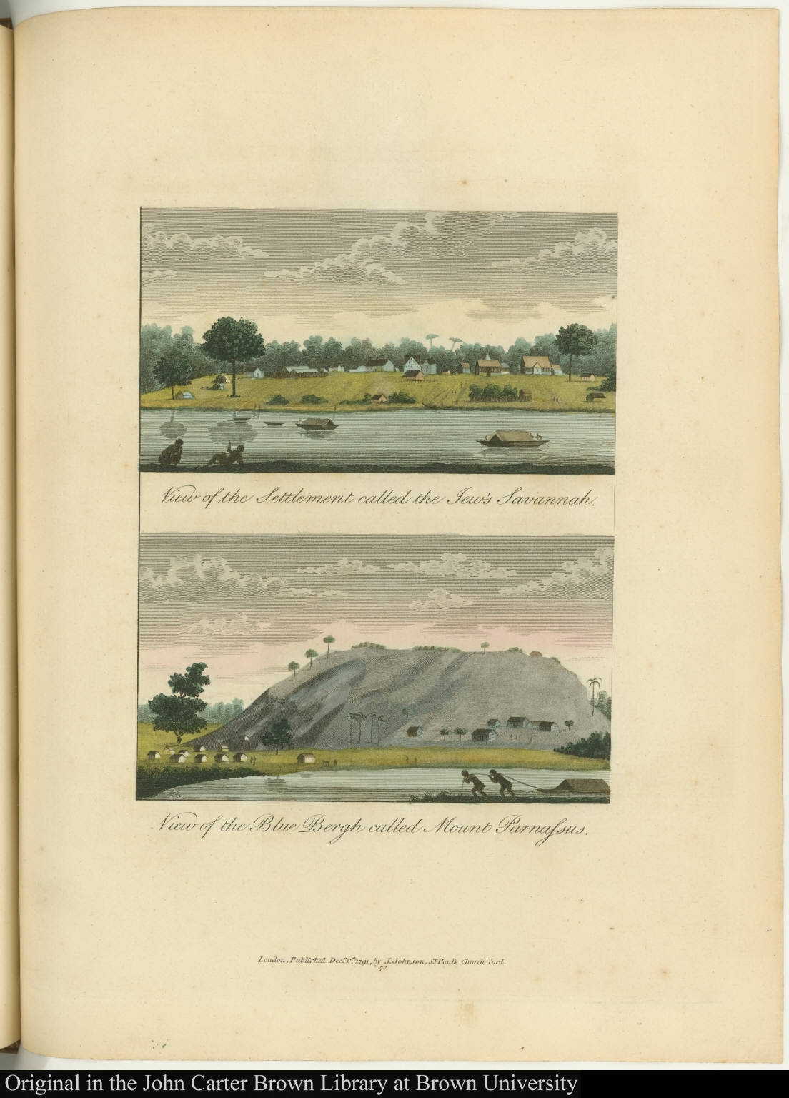 [top] View of the Settlement called the Jew's Savannah. [bottom] View of the Blue Bergh called Mount Parnassus.