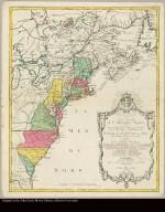 Carte nouvelle de l'Amérique Angloise contenant tout ce que les Anglois possedent sur le Continent de l'Amérique Septentrionale savoir le Canada, la Nouvelle Ecosse ou Acadie, les treize provinces unies qui sont les quatres Colonies de la Nouvelle Angleterre ... avec la Floride gravée ... par Matthieu Albert Lotter