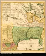[left part] Carte de la Nouvelle France ou se voit le cours des grandes rivieres de S. Laurens & de Mississipi aujour d'hui S. Louis : aux environs des-quelles se trouvent les etats pais nations peuples &c. de la Floride, de la Louisiane, de la Virginie, de la Marie-Lande, de la Pensilvanie du Nouvelle Jersey de la Nouv: York de la Nouv: Angleterre, de l'Acadie de Canada, des Esquimaux, des Hurons, des Iroquois, de Ilinois &c. Et de la grande ile de Terre Neuve dressée sur les mémoires les plus nouveaux recueillis pour l'établissement de la Compagnie françoise Occident