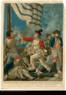 Paul Jones shooting a sailor who had attempted to strike his colours in an engagement.