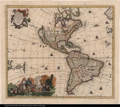 Nova Tabula Americae Sic dictae ab Americo Vesputio Florentino, qui Emanuelis Portugalliae Regis auspicys eam Anno 1497--recens illustrata per Iacobum de Sandrart