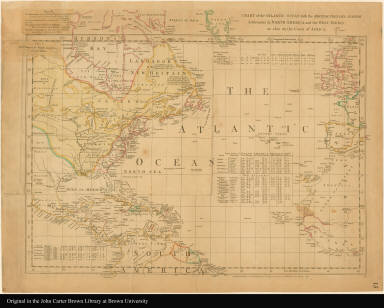 Chart of the Atlantic Ocean, with the British, French, & Spanish settlements in North America, and the West Indies as also on the coast of Africa