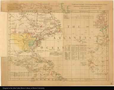 [Overlay 2] Chart of the Atlantic Ocean, with the British, French, & Spanish settlements in North America, and the West Indies as also on the coast of Africa