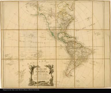 Mapa de América, sujeto á las observaciónes astronomicas, con todos los nuevos descubrimientos hasta ahora conocidos por D. Tomás Lopez, Géografo de los dominios de S.M. ..