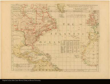 [Sheet] IV. Chart of the Atlantic Ocean, with the British, French, & Spanish settlements in North America, and the West Indies, as also on the coast of Africa --