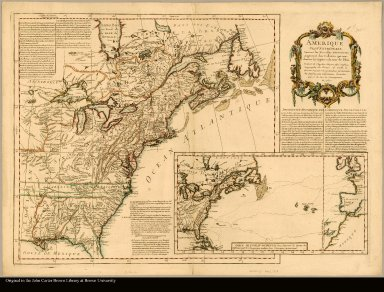 Amérique septentrionale suivant les nouvelles découvertes, augmenté des collonies qui sont derrière la Virginie et cour de l'Ohio traduit de l'anglois d'apres Thos. Gefferys géographe du Prince de Galle, et divisée suivant les pretendues pretentions des Anglois, sans néantmoins entendre, que ce la tire à concequence, en 1757
