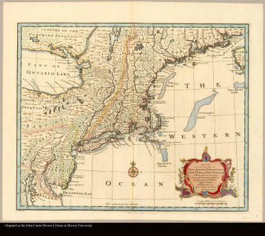 A new and accurate map of New Jersey, Pensilvania, New York and New England, with the adjacent countries Drawn from Surveys, assisted by the most approved modern maps & charts, and regulated by astronomical observations