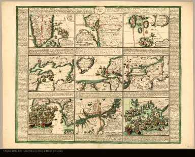 Anno 1760 Historische Expeditionskarte derer Engellænder zur See wieder die Franzosen ... = Carte des Expeditions par Mer des Anglois contre les françois ... par Chretien Frederic de Heyden