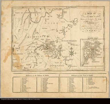 A map of forty miles north, thirty miles west, and twentyfive miles south of Boston including an accurate draft of the harbour and town